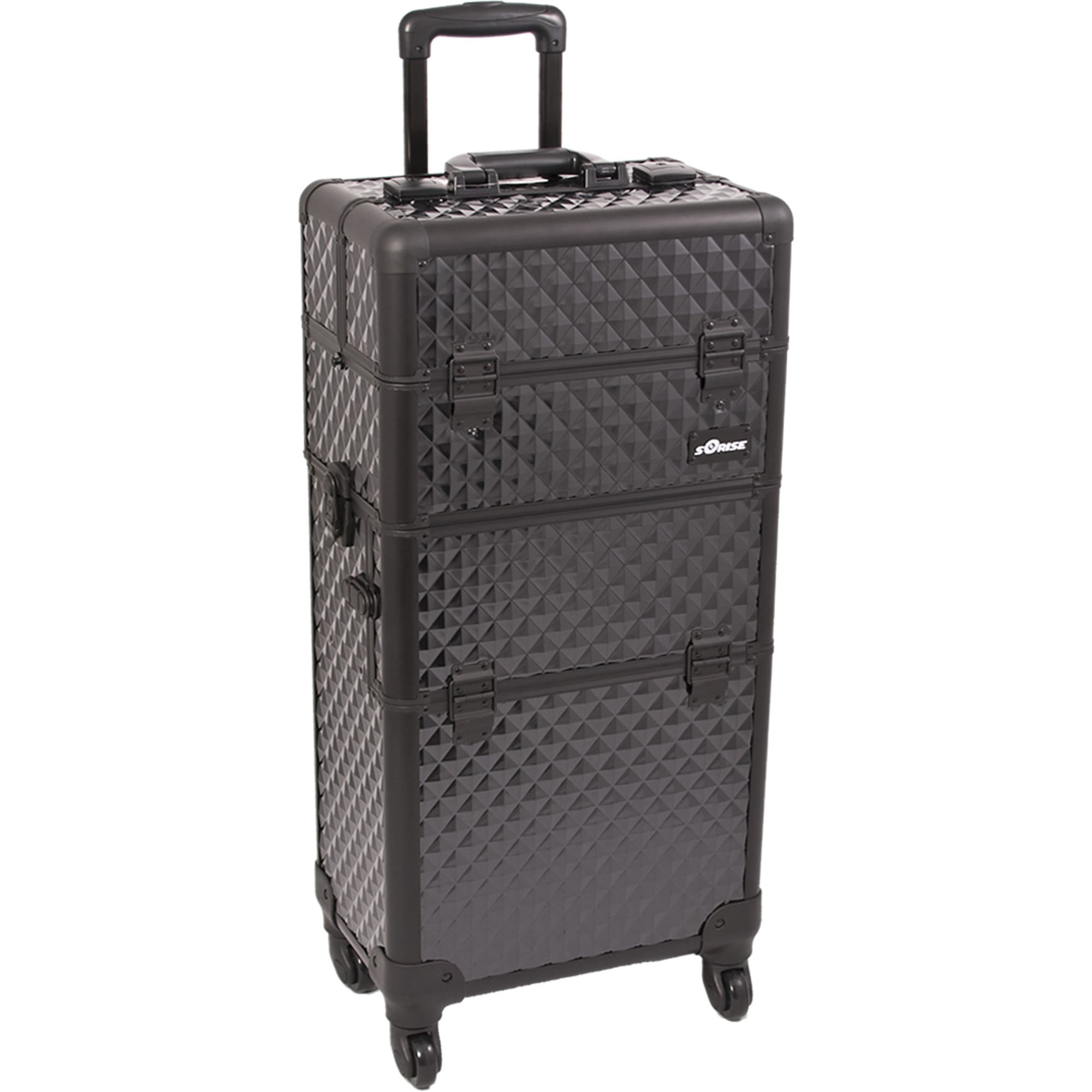 SUNRISE Makeup Case on Wheels I3261 2 in 1 Hair Stylist Organizer, 4 Wheel Spinner, 3 Trays and 1 Removable Tray, Locking with Mirror and Shoulder Strap, Black Diamond