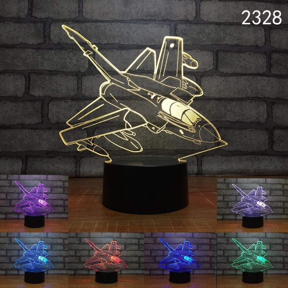 HNXDP Space Car Boat Novelty 3D Night Light LED Lámpara de mesa Touch Desk Lighting Colorido para niños Baby Gift Birthday Party Bedroom