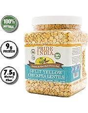 Pride Of India división amarillo indio lentejas garbanzos proteína y fibra rica dal chana, tarro 1,5 libra