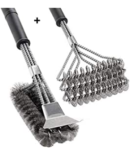 Kohi-Grill Brush Scraper Bristle Free Stainless Steel Grill Cleaning Brush