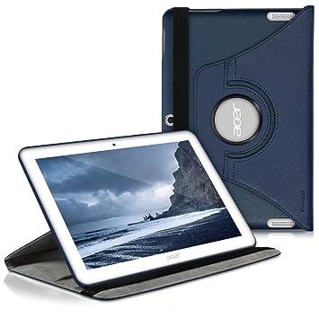 kwmobile Funda para Acer Iconia Tab 10 (A3-A20) - Carcasa 360 Grados de Cuero sintético para Tablet en Azul Oscuro