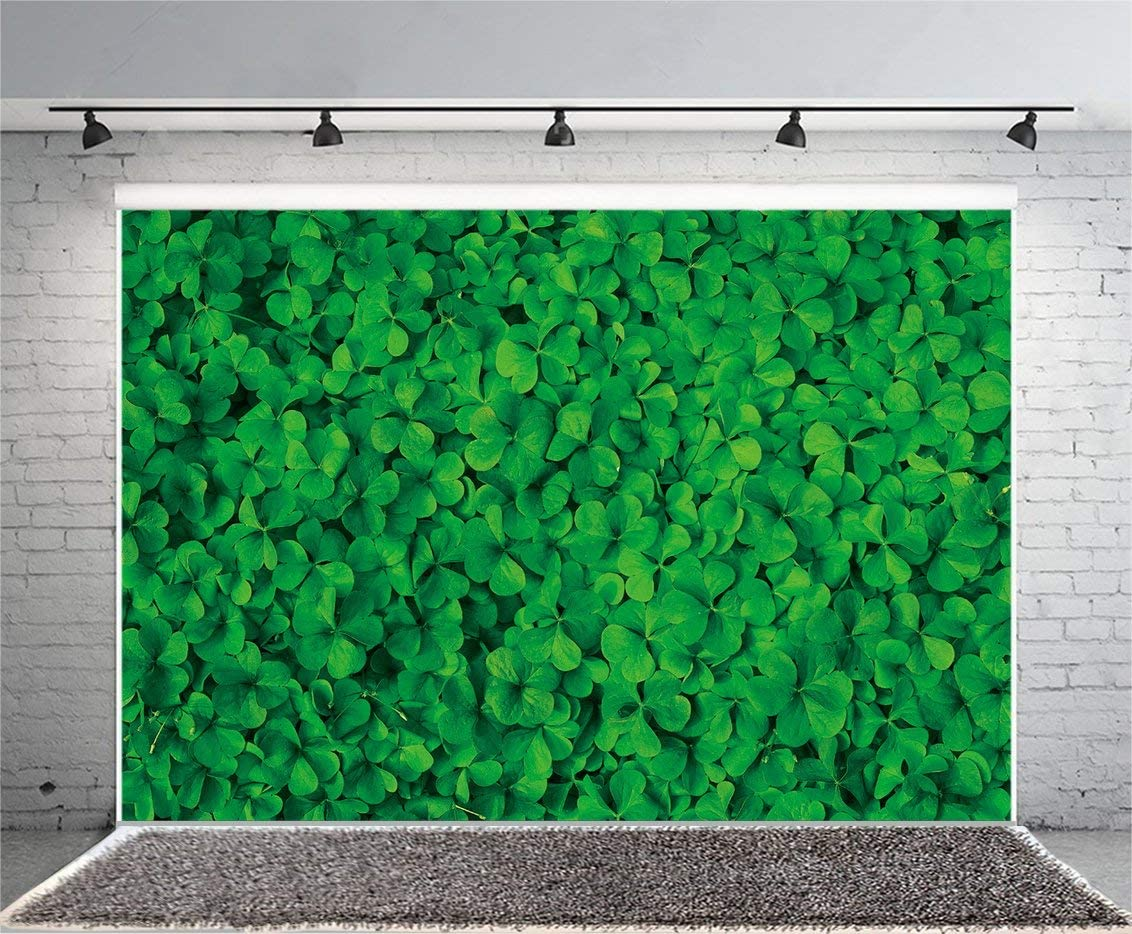 10x6.5ft Polyester Photography Backdrop Lucky Irish Shamrock Happy St.Patricks Day Green Clover Grassland Nature Texture Spring Photo Background Children Baby Adults Portraits Green Background