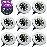 Solar Ground Lights - 8LED Garden Pathway Solar Lights ,Disk Lights Waterproof In-Ground Outdoor Landscape Lighting for Lawn Patio Pathway Yard Deck Walkway - Warm White 1.60W, 1.20V