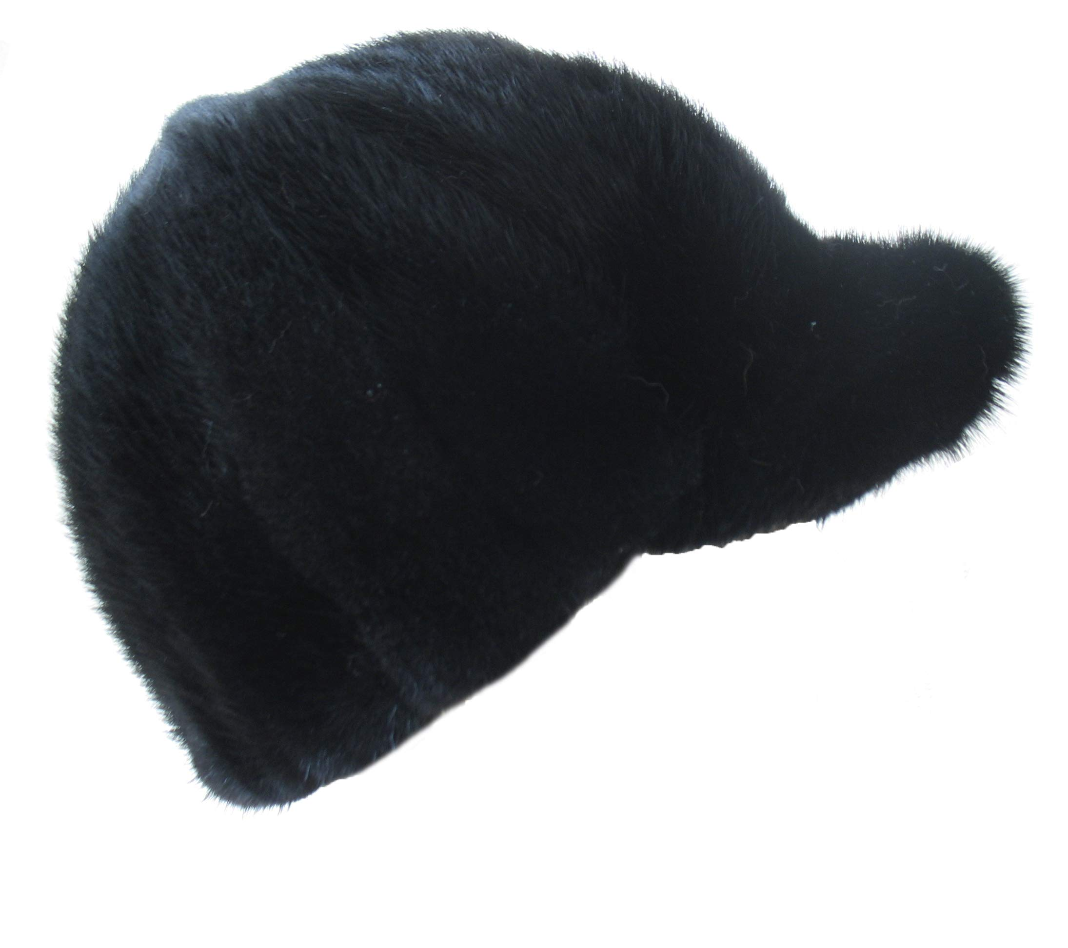 Real Mink Fur Hand-Made Hat Cap for Both Women and Men with Visor Black