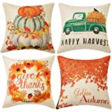 WLNUI Set of 4 Fall Pillow Covers 18x18 Inch Happy Harvest Give Thanks Golden Autum Theme Cotton Linen Throw Pillow…