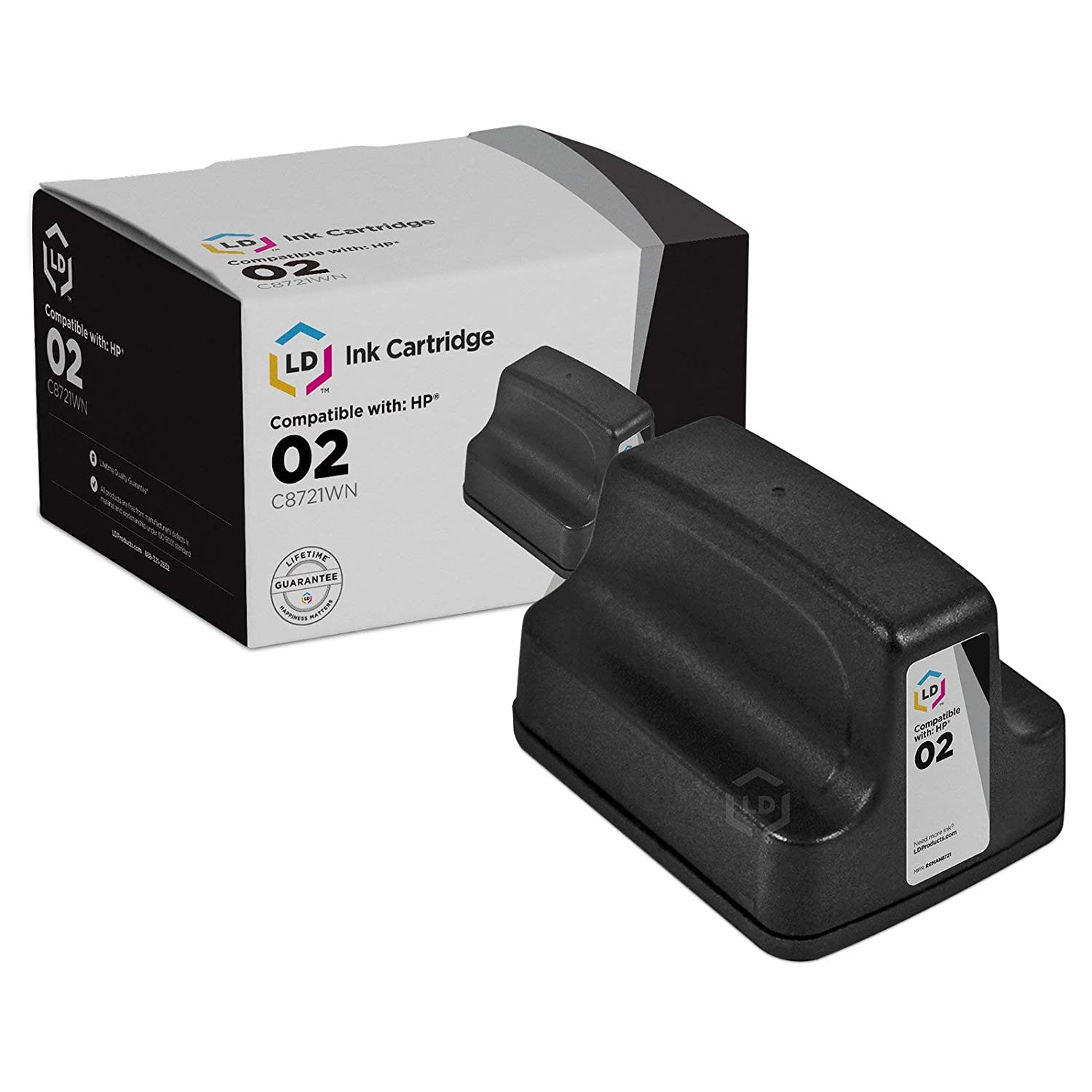 Amazon.com: LD Remanufactured Ink Cartridge Replacement for HP 02 C8721WN  (Black): Electronics
