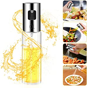 Besmon Olive Oil Sprayer Food-grade Glass Bottle dispenser for Cooking, BBQ, Salad, Kitchen Baking, Roasting, Frying (Clear)