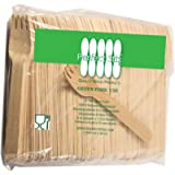 Perfect Stix Green Fork 158-200ct Wooden Disposable Cutlery Forks, 6' Length (Pack of 200)