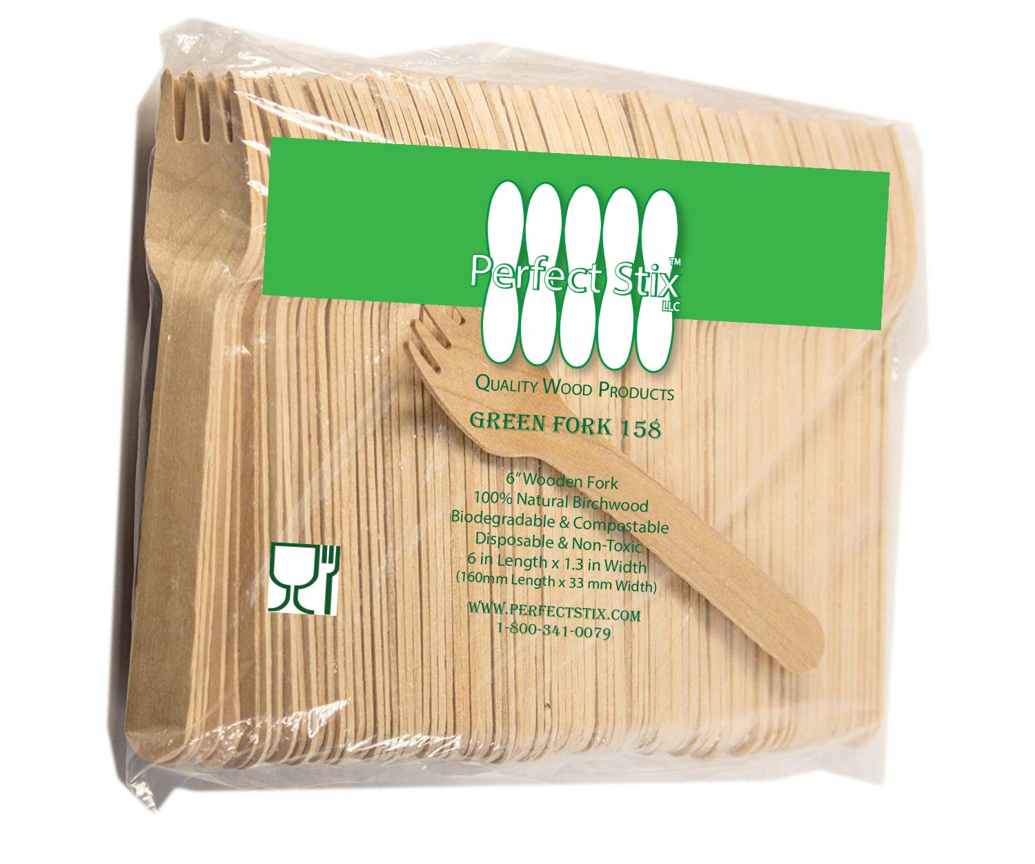 Pack of 200 Perfect Stix Green Fork 158-200ct Wooden Disposable Cutlery Forks 6 Length