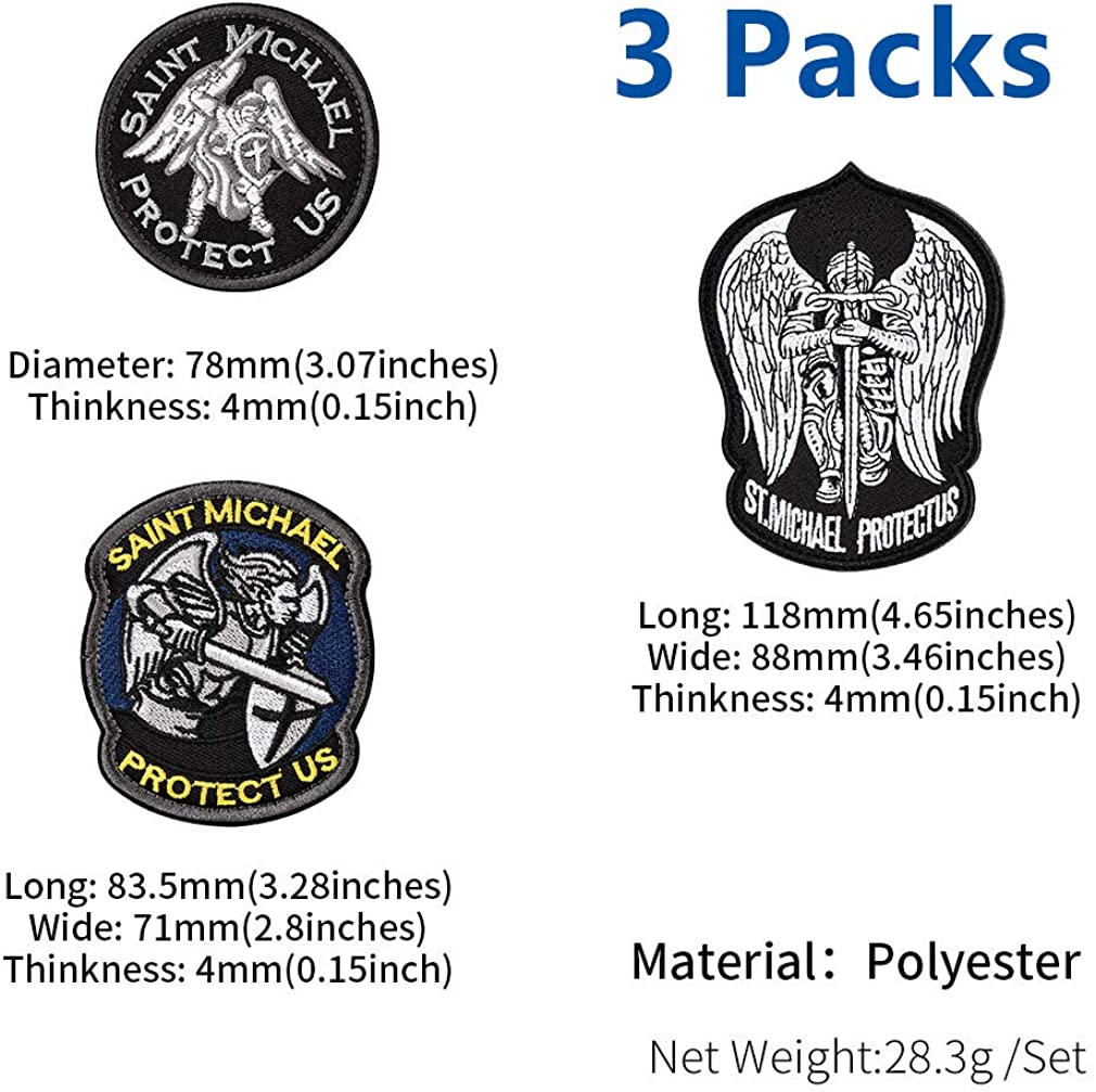 FaithHeart Morale Patches Hook /& Loop Emblem Saint Michael Patch Blood Type Patches Armband Embroidered Applique Camping Jacket Patches