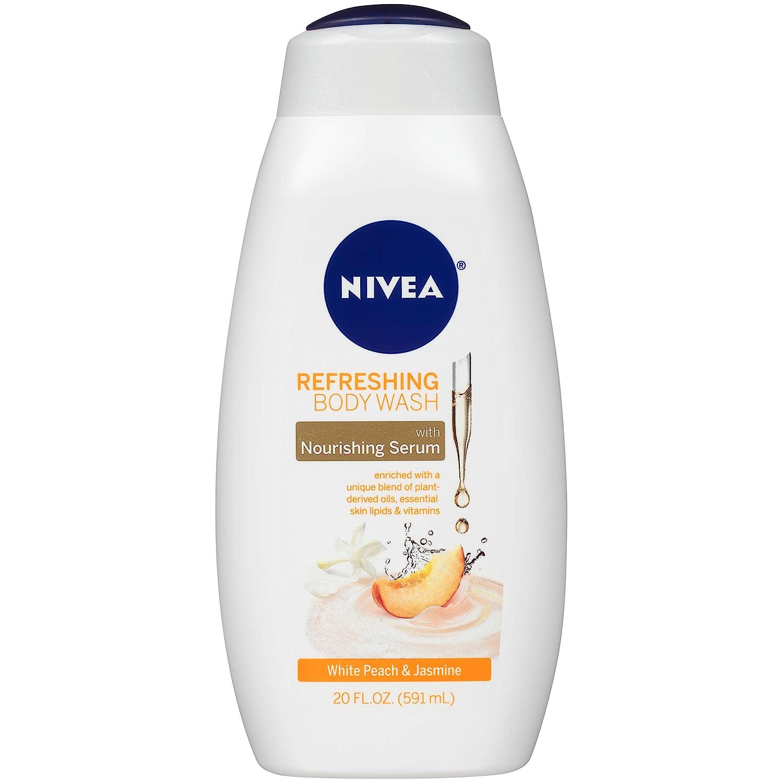 NIVEA Refreshing White Peach and Jasmine Body Wash - with Nourishing Serum - 20 Fl. Oz. Bottle