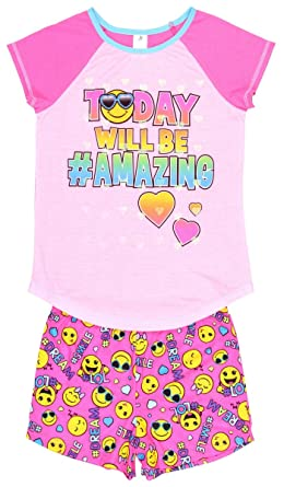 Emoji Pajamas For Girls Short and Shirt 2 Piece Set Sleep Top Pjs (X-