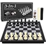 LBLA Travel Chess Set for Kids and Adults 3 in 1 Magnetic Chess Checkers Backgammon Folding Board Games Educational Toys…