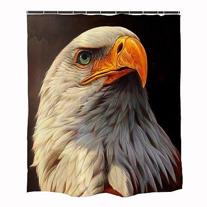 Orange Design Bald Eagle Shower Curtain For Bathroom 71x71 National
