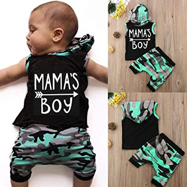 WARMSHOP 2Pcs Toddler Boys Girls Layette Sets Letter Mamas Boy Print Vest Hooded Tops+Camouflage Shorts Outfits Sets 3-6 Months, Black