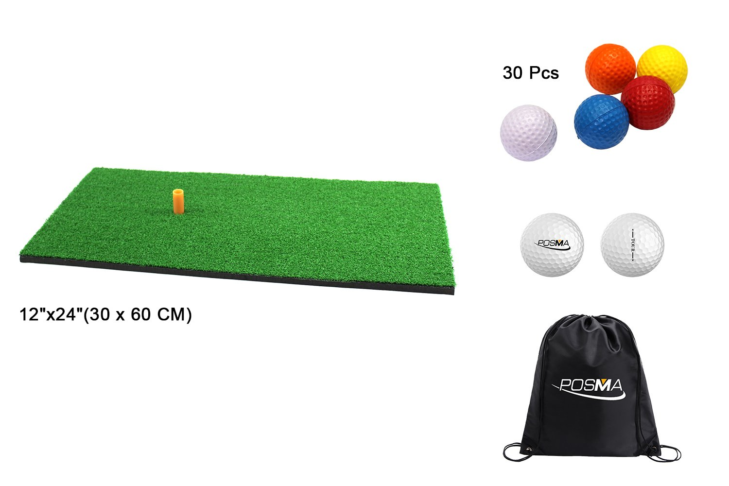 POSMA HM040AA Golf Backyard Golf Mat 12''x24''(30 x 60 CM), 30pcs Multi Color PU Practice Balls, 2pcs Tour Ball, and Cinch Sack Carry Bag