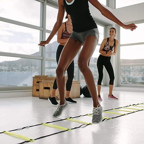 Conjunto de entrenamiento de escalera de coordinación, 6m con bolsa y clavijas | Escalera de velocidad | Agilidad velocidad escalera para fútbol, fitness, deportes, Balonmano, fútbol | + EBook gratis: Amazon.es: Deportes