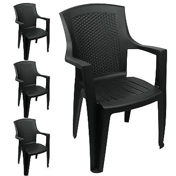 Lot De 4 Chaises Jardin Dans Le Noir Fauteuil En Plastique Effet Rotin Chaise