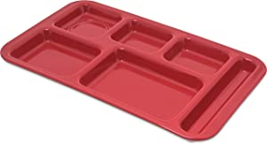 "Carlisle 4398205 Right Hand 6-Compartment Cafeteria/Fast Food Tray, 15"" x 9"", Red"