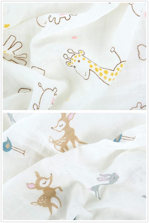 prelavada extra grande 2 unidades Manta de muselina para beb/é 100/% algod/ón ultra suave Golden Giraffe /& Brown Deer Talla:120X120CM 120 x 120 cm