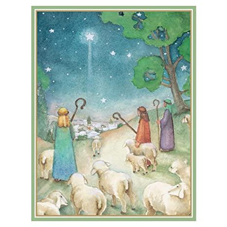 Angels Christmas Cards.Caspari What The Angels Saw Large Boxed Christmas Cards 16 Cards Envelopes