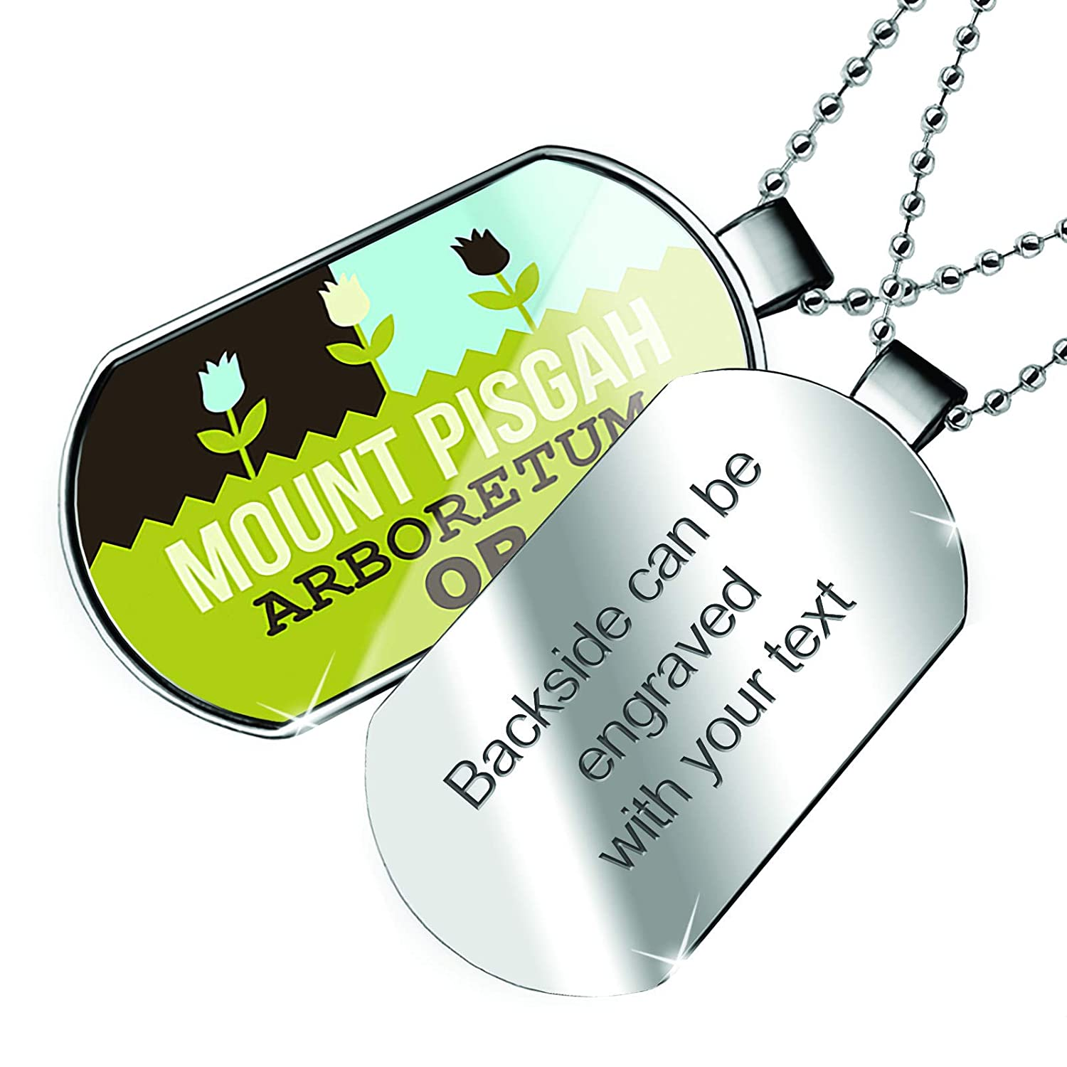 OR Dogtag Necklace NEONBLOND Personalized Name Engraved US Gardens Mount Pisgah Arboretum