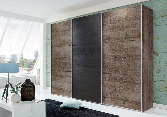 lifestyle4living 3 De TRG. Armario de Puertas correderas en Barro Roble con estantes en Negro Roble, Dimensiones: B/H/T Aprox. 313/210/65 cm: Amazon.es: Hogar