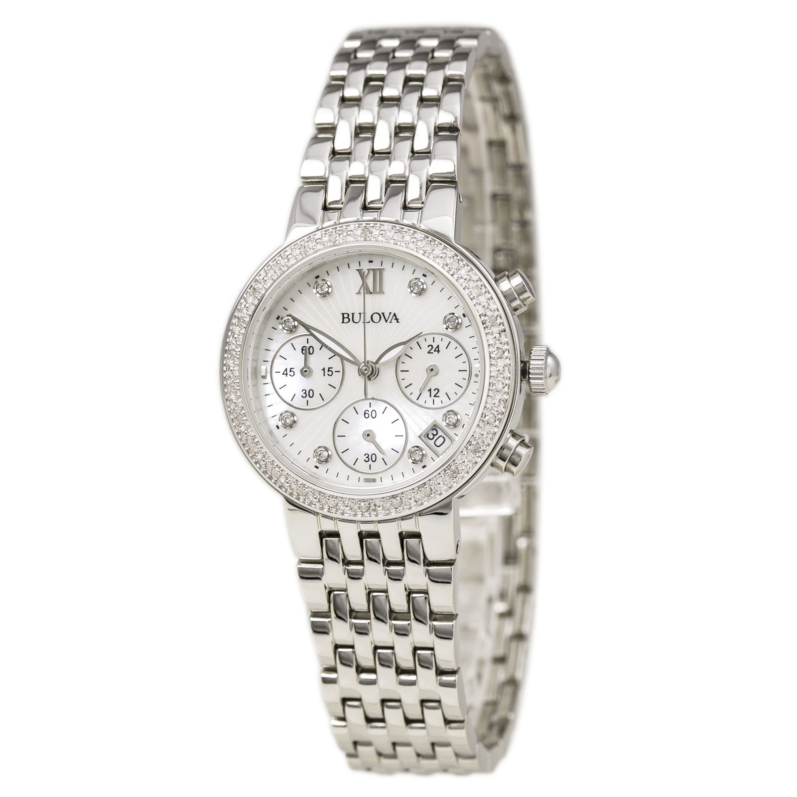 Bulova Stainless Steel Diamond Watch