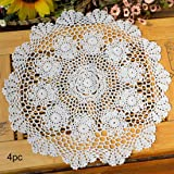 kilofly Crochet Cotton Lace Table Placemats Doilies Value Pack, 4pc, Rosary, White, 15 inch
