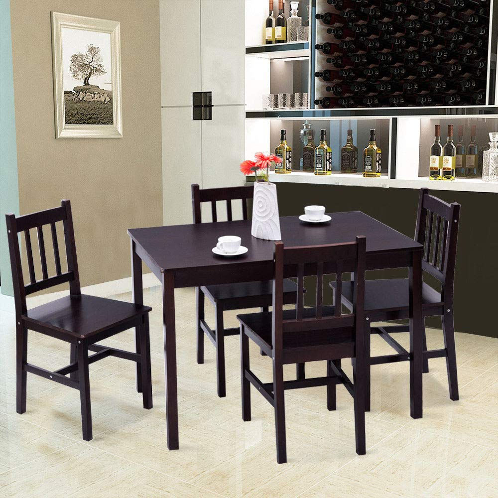 Casart 5 Piece Wood Dining Table Set 4 Chairs Home Kitchen Breakfast Furniture (Brown) by Casart