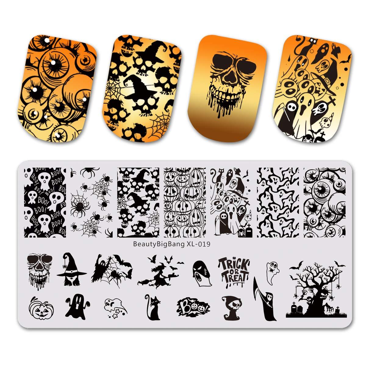 Beautybigbang nail stamping piatti set modelli di immagine scheletro fantasma ragno zucca di Halloween nail art xl-019