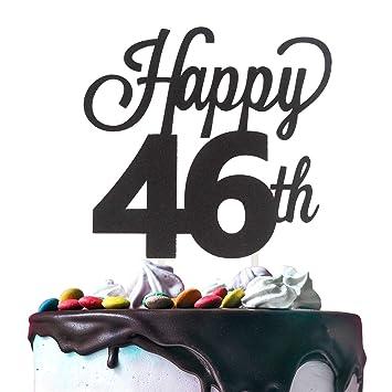Amazon.com: Decoración para tartas de 46 cumpleaños, doble ...