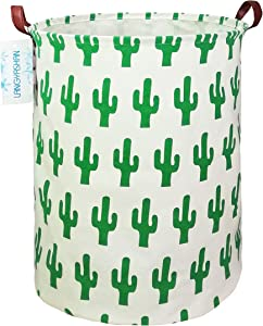 LANGYASHAN Storage Bin,Canvas Fabric Collapsible Organizer Basket for Laundry Hamper,Toy Bins,Gift Baskets, Bedroom, Clothes,Baby Nursery (Green Cactus)