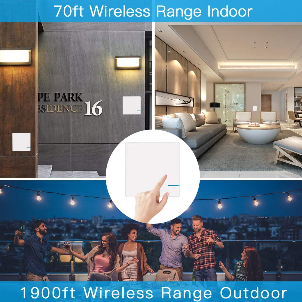 Remote Control Ceiling Lamp LED Bulb IP54 Waterproof Google Assistant Wsdcam Smart WiFi Wireless Light Switch Wall Switch Works with Alexa No Hub Required Single Switch /& Receiver