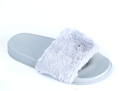 slippers NEW WOMENS LADIES FLAT FULLY FAUX FUR COMFY SLIDER SANDALS SIZE 3-8 Clothing, Shoes & Accessories