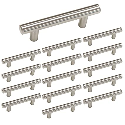 Homdiy 3 Inch Cabinet Handles Brushed Nickel Cabinet Pulls 15 Pack Hd201sn Cabinet Drawer Pulls Bathroom Cabinet Hardware Metal Drawer Pulls Brushed