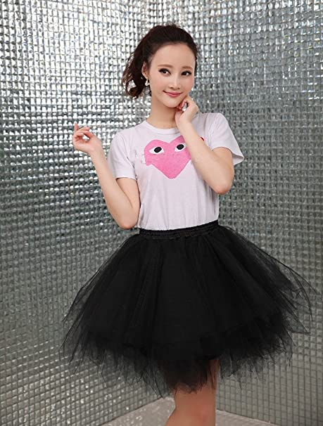 42e4b41a832 Amazon.com  MizHome Womens Soild Color Tutu Skirt Layered Tulle Skirt Adult  Halloween Costumes  Clothing