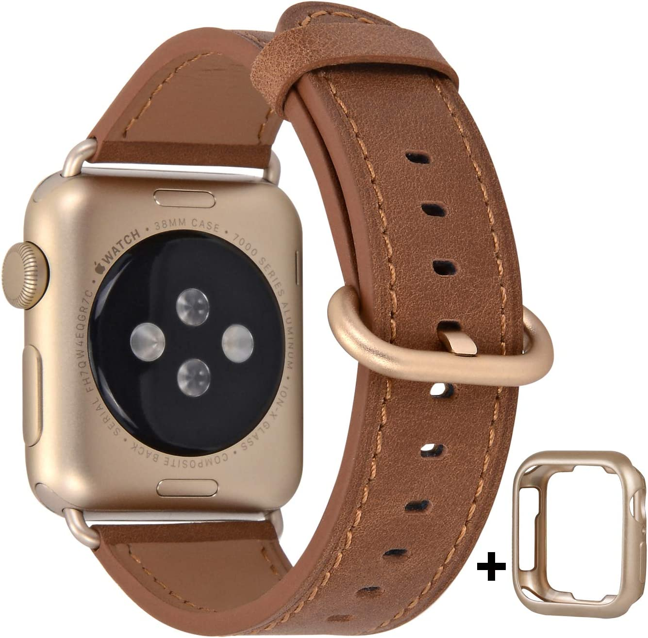 JSGJMY Compatible with Apple Watch Band 38mm 40mm 42mm 44mm Women Men Genuine Leather Replacement Strap for iWatch Series SE 6 5 4 3 2 1 (Camel with Champagne Gold Clasp, 38mm/40mm S/M)