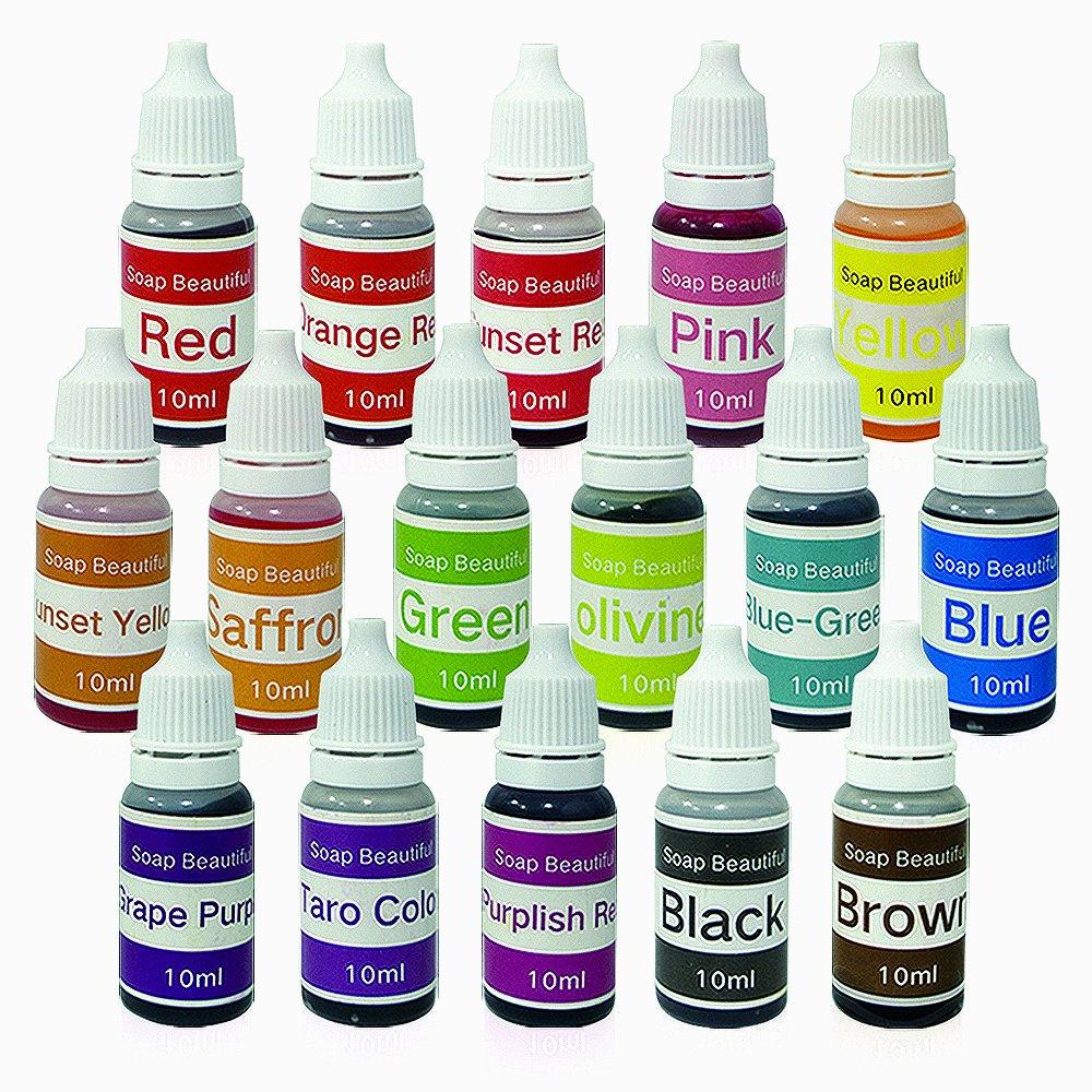 Amazon.com: 16 Colors Liquid Soap Dye Kit Food Grade Skin Safe ...