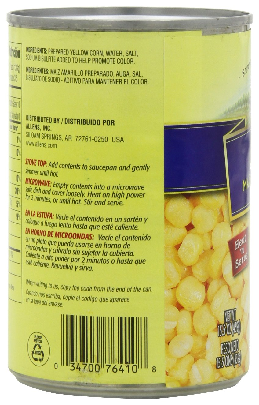 Amazon.com : Allens Golden Hominy, 15.5000-Ounce (Pack of 12) : Canned And Jarred Corn : Grocery & Gourmet Food