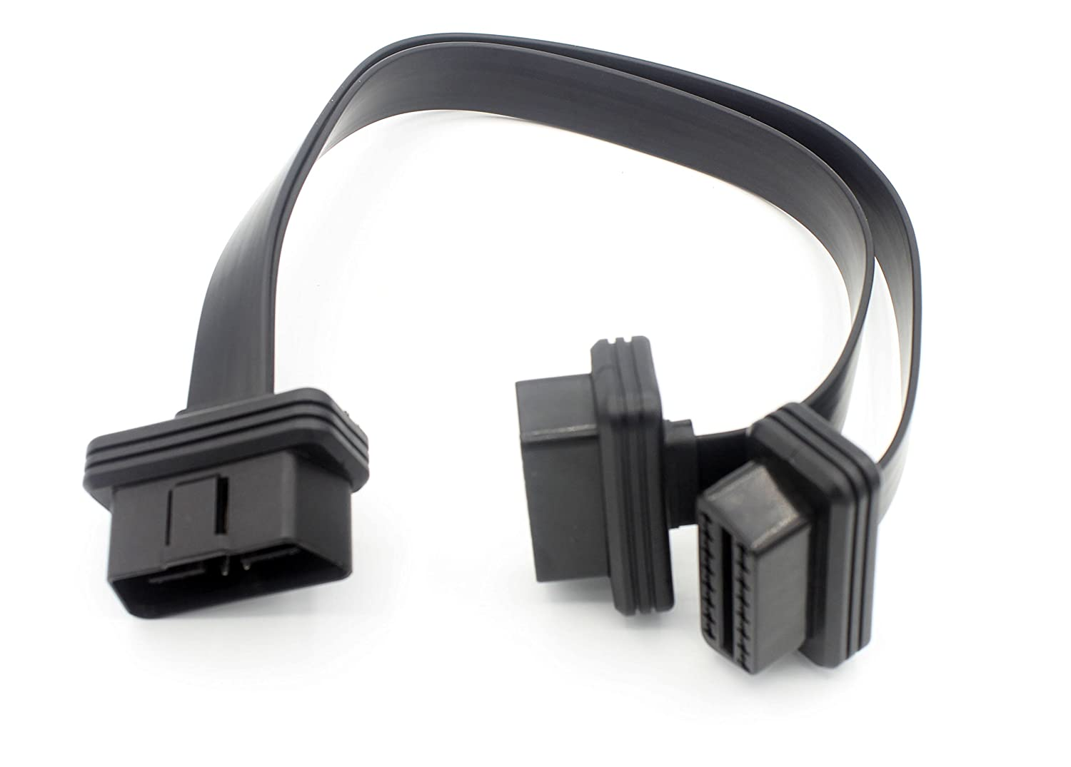 LoongGate Ultra Low Profile Super Long OBD-II OBD2 Extension Cable - Flat Noodle Cable Full 16 pin Pass-through for Bluetooth Wifi USB ECU Readers OBDII Code Scanners - 3 Meters(9.8ft) Shenzhen Hengye