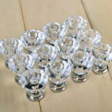 New 12Pcs Clear Acrylic Drawer Pull Knob Cabinet Chest Bin Handle / Brilliant Color Sparkles Like Diamonds from the Diamond Cuts, Used for Cabinet, Drawer, Chest, Bin, Dresser, Cupboard, etc