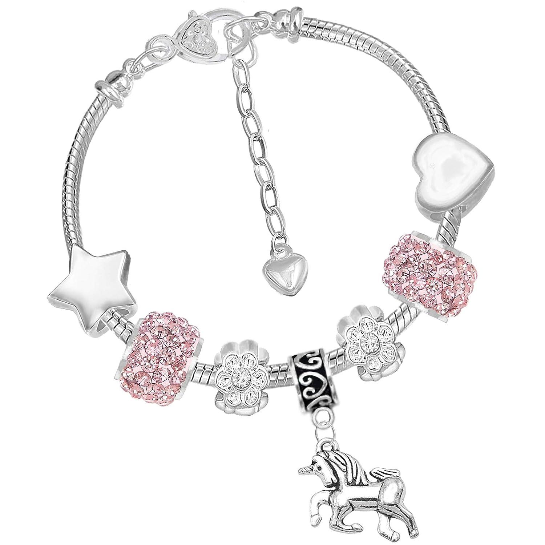 Girls Sparkly Pink Crystal Unicorn Charm Bracelet Set with Greeting Card and Gift Box Charm Buddy ® NXG:13 CH:71 Q:32 16cm SILV