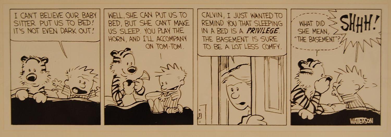 Calvin y Hobbes enmarcado placa de cómic arte por Bill Watterson ...