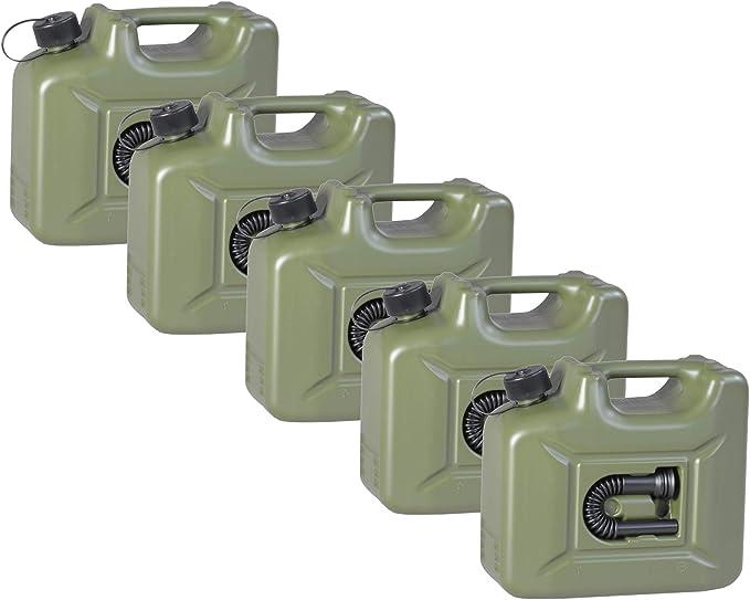 4er Set Hünersdorff Benzinkanister 10 Liter Kraftstoff Kanister Olivgrün 10l Un Zulassung Diesel Auto