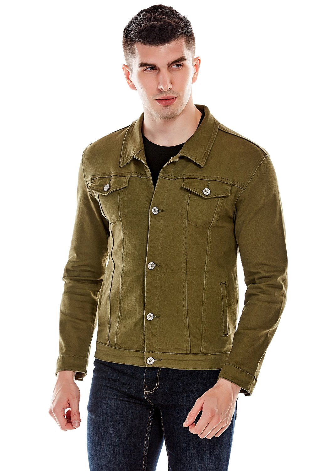 Idopy Men`s Casual Cowboy Rugged Jean Denim Biker Trucker Jacket (US L, Green) by Idopy