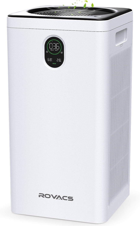 ROVACS Purificador de Aire para Hogar, Filtro HEPA, 99,97% Limpiador de Aire para Alergias, Mascotas, Pelo, Polvo, Ventilador de 5 Velocidades y Control Remoto Inalámbrico