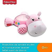 Fisher-Price Hippo Douce Nuit Peluche Veilleuse Bébé, avec Projection de Lumière Étoilée, Musique et Sons, dès la Naissance
