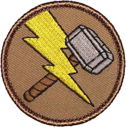 """MARVEL COMIC/'S THOR/'S HAMMER 3 1//4/"""" ROUND  Embroidered PATCH"""