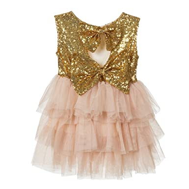 7eced0c0cc5b0 Amazon.com: belababy Gold Sequins Dress for 3y Toddler Girl: Clothing